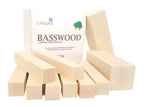 (Best Value Premium Basswood Carving/Whittling Large Beginners KIT. 25% More Wood Than Other Large Kits! Suitable for Kids or Adults, Beginner to Expert. Unfinished Kiln Dried Whittling Blocks. )
