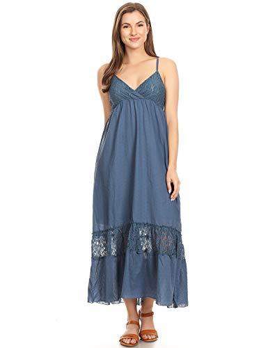 Anna-Kaci Womens Adjustable Spaghetti Strap Sleeveless Long Lace Boho Dress, Blue, -