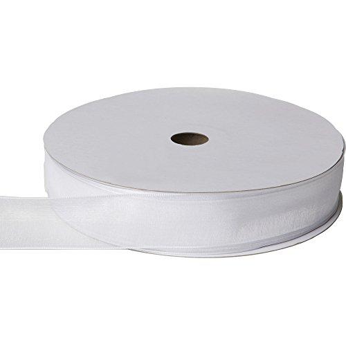 Jillson & Roberts Organdy Sheer Wired Ribbon, 1 3/8'' Wide x 100 Yards, White by Jillson Roberts
