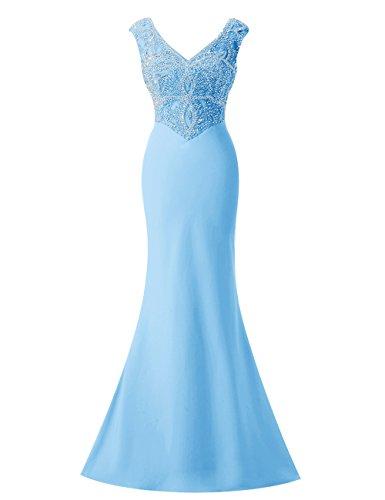 Bbonlinedress Vestido Largo Elegante V Cuello Con Cuentas Azul