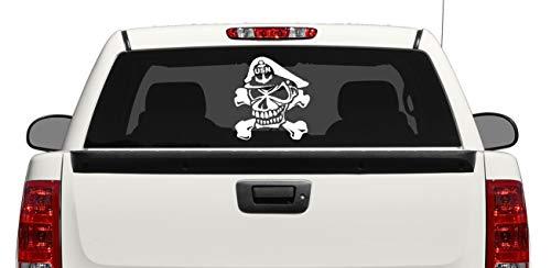(CELYCASY Large Navy Chief Skull and Crossbones Custom Car Truck Van Window or Bumper Sticker Vinyl Decal)