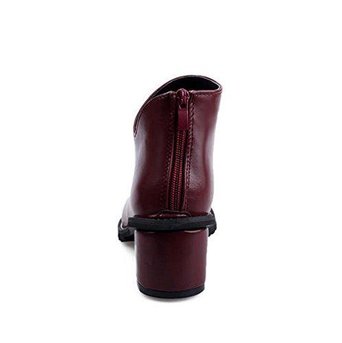 ... Chfso Kvinners Trendy Chunky Hæl Tilbake Glidelås Ankel Boots Red ...
