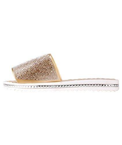 KRISP Sandalias Verano Mujer Brillantes Dedo Chanclas Zapatos Flip Flop Chancletas Dorado