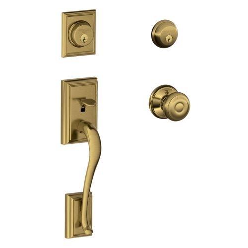 Schlage F62-ADD-GEO Addison Double Cylinder Handleset with Georgian Interior Kno, Antique Brass