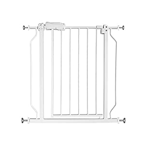 Fairy Baby Narrow Baby Gate for Stairs Walk Through Easy Auto Close Child Pets Safety Gate,Fits Spaces Between 24.21″ and 27.55″ Wide,White