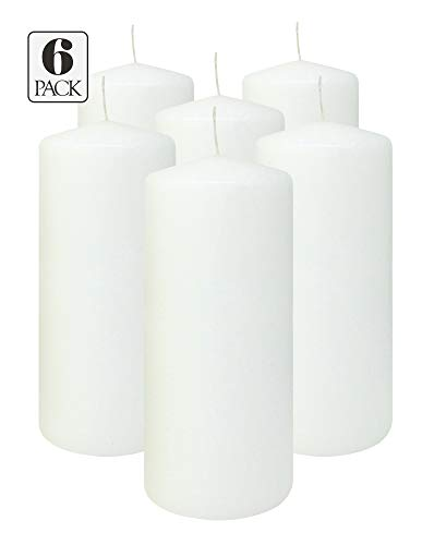 White Pillar Candles 3x7 Inch - Unscented Pillar Candles - 6-Pack - Made in - 7 Inch Candle