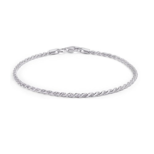 925 Sterling Silver Rope Chain Anklet Italy by Bling Jewelry