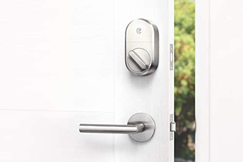 August Smart Lock + Connect Wi-Fi Brige, Satin Nickel, Works with Alexa. Keyless Home Entry from Anywhere. 31d18g127ZL