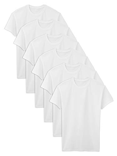 Fruit of the Loom Men's Big Stay Tucked Crew T-Shirt, White - Tall Sizes, Large (Collar Knit Top Men)