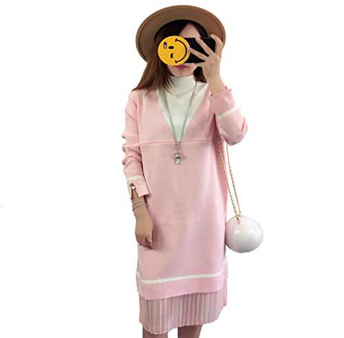 ゆりアシスタント負担マタニティドレス、看護セーター、セーター 長袖のセーター新しい秋と冬の給餌 授乳服の潮 (ピンク, L)