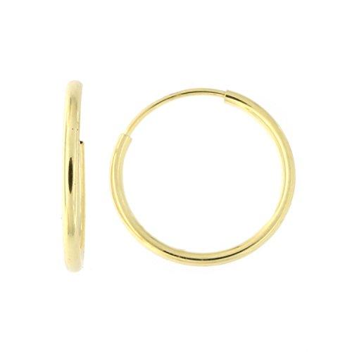 14k Yellow Gold 1mm Endless Hoop Earrings, 12mm (1/2