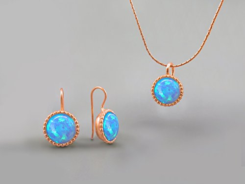 10 mm Blue Fire Opal Stones Round Jewelry Set For Women 14K Rose Gold October Birthstone Jewelry Opal Necklace Pendant Earring Set Gifts for Women Opal Jewelry Created Gemstone Custom Jewelry Handmade by Chen Fuchs Jewelry