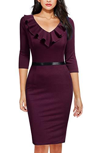 (REPHYLLIS Women's Ruffles Short Sleeve Business Cocktail Pencil Dress Amaranth S)