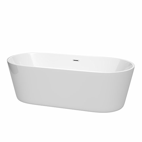 Wyndham Collection WCOBT101271 Carissa Freestanding Bathtub with Drain and Overflow Trim, 71