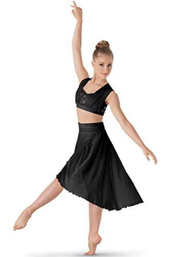 Balera Sequin Dance Bra Top Mesh Black Child ()