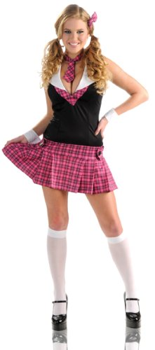 [Delicious Sassy Scholar Costume, Pink/Black, Medium] (Pink Sexy Costumes)
