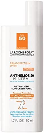 La Roche-Posay Anthelios 50 Mineral Tinted Ultra-Light Tinted Sunscreen Fluid for Face, Water Resistant with SPF 50, 1.7 Fl. Oz.
