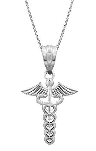 Sterling Silver Caduceus Necklace Pendant with 18