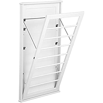 "Laundry Room Space Saving Wall Mount Clothes Clothing Drying Rack Hanger Large Classic White 23""W x 2""D x 42""H"