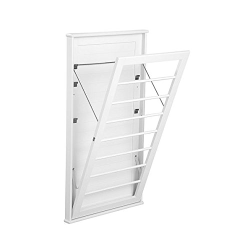 """Laundry Room Space Saving Wall Mount Clothes Clothing Drying Rack Hanger Large Classic White 23""""W x 2""""D x 42""""H"""