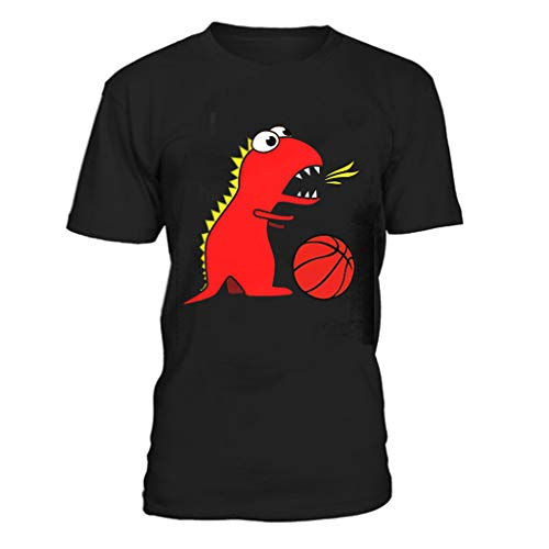 Kaniem Mens T Shirts Crew Neck Short Sleeve Tops Cute Dinosaur Print Plus Size Tee Blouse (XL, Red)