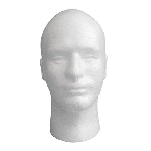 Manikin Head Model JUNKE Male Mannequin Foam Wig Hair Glasses Display (white)