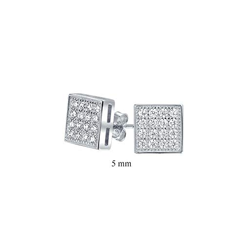 Geometric Square Cubic Zirconia Micro Pave CZ Stud Earrings For Men For Women 925 Sterling Silver 5mm ()