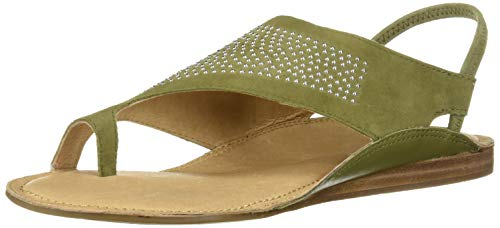 Aerosoles Women's Handbook Flat Sandal, MID Green Suede, 7 M US