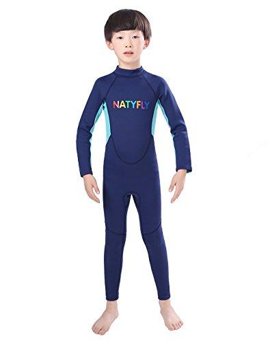 981952e41ce Galleon - Neoprene Wetsuits For Kids Boys Girls Back Zipper One Piece  Swimsuit UV Protection-Brand NatyFly (New Blue-2mm-Long Sleeve