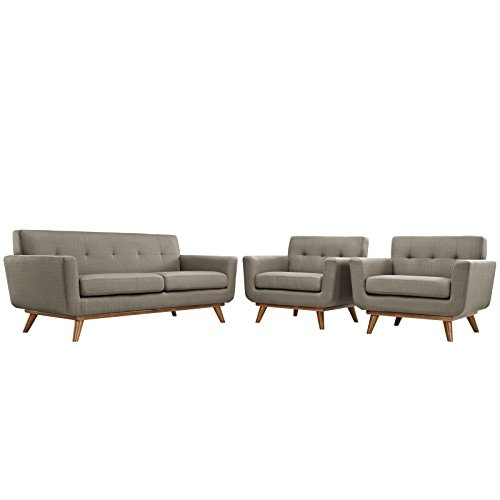 Modway Engage Mid-Century Modern Upholstered Fabric Two Armchair and Loveseat Set in - Collection Upholstery Lexington