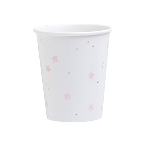 Fire and Creme Stars Foiled Paper Party Cups Gold Pink White Watercolor 9 ounce - Pack of 8 (Paper Creme)