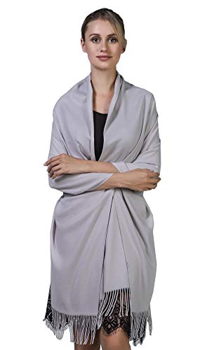 Niaiwei Cashmere Scarf Blanket Large Soft Pashmina Shawl Wrap For Men and Women (Silver Gray) by Niaiwei