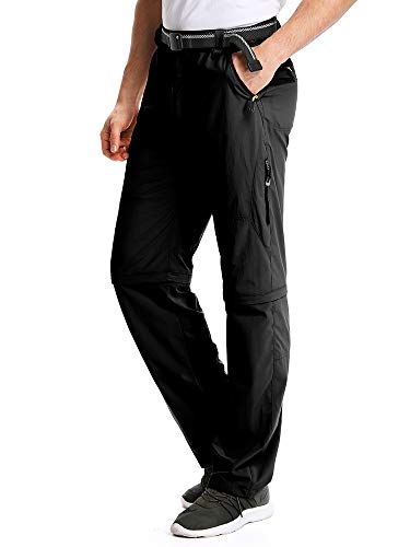 Mens Hiking Pants Adventure Quick Dry Convertible Lightweight Zip Off Fishing Travel Mountain Trousers .M1111,Black, US34