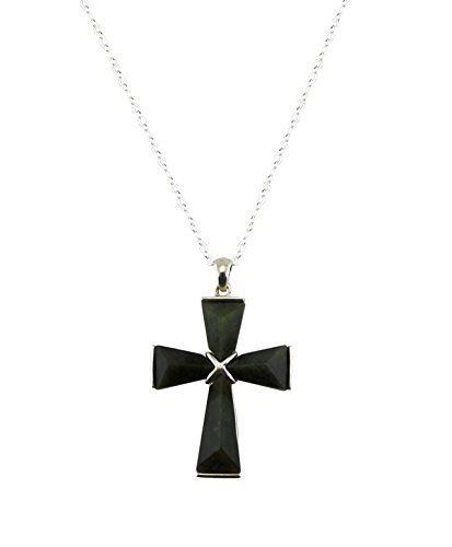 Irish Connemara Marble: Large Sterling Silver Cross Necklace