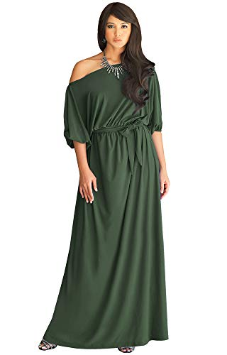 KOH KOH Petite Womens Long Sexy One Off Shoulder Flowy Casual 3/4 Short Sleeve Cocktail Wedding Party Guest Maternity Gown Gowns Maxi Dress Dresses, Olive Green S 4-6