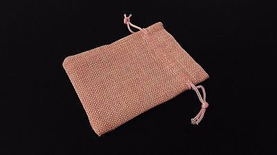 Inspire Dream Play 10pc Baby Pink Burlap Cloth Drawstring Gift Bags Party Wedding Favors 9X12CM ()