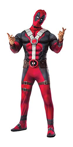 (Marvel Men's Deadpool Deluxe Muscle Chest Costume and Mask, Multi,)