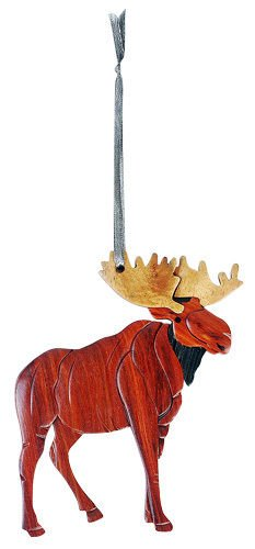 (Intarsia Wood Moose Ornament, Handcrafted Wood Mosaic, Double Sided w/ Ribbon)