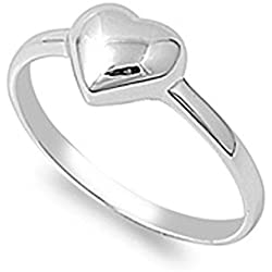 Sterling Silver Women's Plain Cute Heart Ring Promise 925 Band Valentine's Day gift