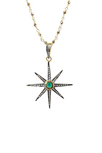 (Pave Diamond Emerald Star Necklace- Oxidized Sterling Silver-Pyrite Gemstone-Mixed Metal 18