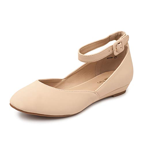 (DREAM PAIRS Women's Revona Nude Nubuck Low Wedge Ankle Strap Flats Shoes - 11 B(M) US)