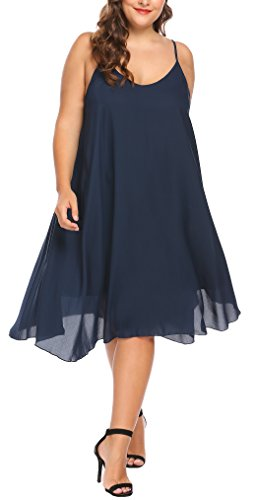 IN'VOLAND Women's Plus Size Summer Spaghetti Strap Chiffon Sleeveless Beach Dress ()