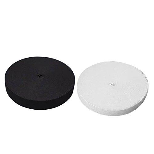2 rouleaux de bandes élastiques 30m Spool Tricot couture bande plate élastique ruban largeur 1,5 cm noir + blanc