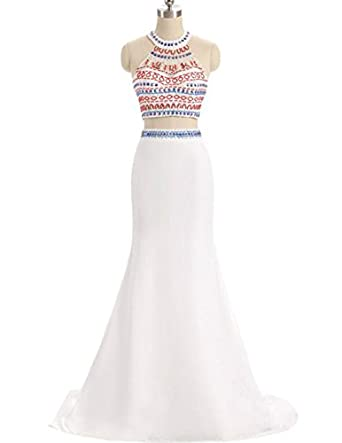 KaBuNi Womens Halter Two Pieces Mermaid Long Homecoming Prom Dress