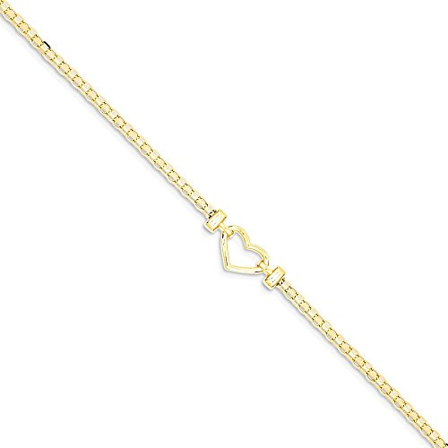 ICE CARATS 14k Yellow Gold Heart Anklet Ankle Beach Chain Bracelet Fine Jewelry Gift Set For Women Heart