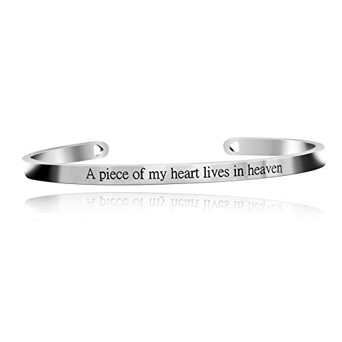 Uloveido 4mm Memorial Bracelets Inspirational Gifts for Women,Stainless Steel Personalized Engraved A Piece of My Heart Lives in Heaven Bracelets Cuff Bangle for Mom Dad Y466