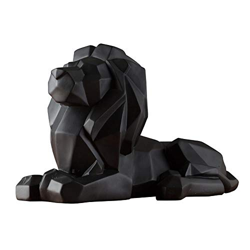 8.1-inch high geometric resin lion sculpture animal statue