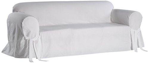 Classic Slipcovers BT10RASLWHT Solid White Twill Sofa slipcover (Loose Fit Slipcover)