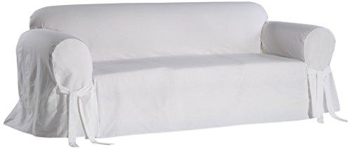 Classic Slipcovers BT10RASLWHT Solid White Twill Sofa slipcover ()