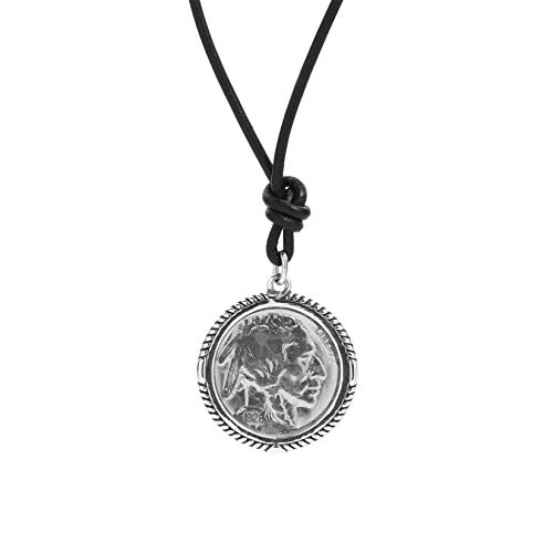 American West Sterling Silver Native Buffalo Nickel Vintage Coin Pendant Black Leather Cord Necklace 20 Inch